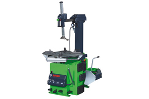 Rearwards tilting column tyre changer with sliding arm and air blocking device, integrated pneumatic bead breaker, inflating gun with pressure monitor , self centering device and two speed motor for turn table. 3 Phase Power Supply, Single Phase units are available on special request